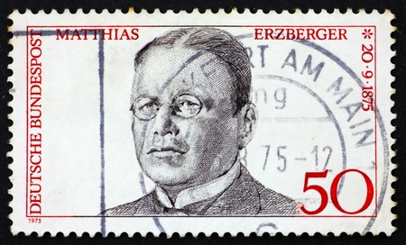 signer: GERMANY - CIRCA 1975: a stamp printed in the Germany shows Matthias Erzberger, signer of Compiegne Armistice at end of World War I, circa 1975