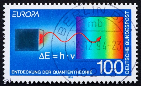 planck: GERMANY - CIRCA 1994: a stamp printed in the Germany shows Discovery of Quantum theory, by Max Planck, circa 1994