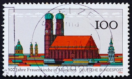 GERMANY - CIRCA 1994: a stamp printed in the Germany shows 500th Anniversary of Church of Our Lady in Munich, Frauenkirche, circa 1994 Stock Photo - 11455673