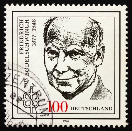 theologian: GERMANY - CIRCA 1996: a stamp printed in the Germany shows Friedrich von Bodelschwingh, Protestant Theologian, circa 1996