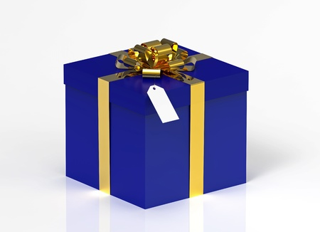 Blue gift box isolated on reflective background photo