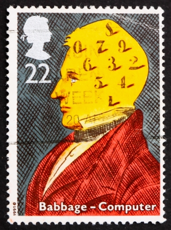charles: GREAT BRITAIN – CIRCA 1991: a stamp printed in the Great Britain shows Charles Babbage, computers, circa 1991