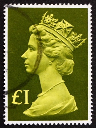 GREAT BRITAIN - CIRCA 1977: a stamp printed in the Great Britain shows Her Majesty the Queen Elizabeth II, Portrait, circa 1977