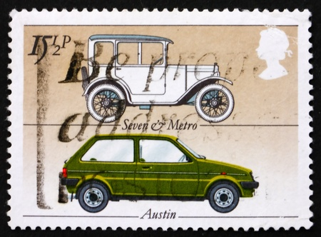 GREAT BRITAIN - CIRCA 1982: a stamp printed in the Great Britain shows Austin�s Seven and Metro, British cars, circa 1982 photo