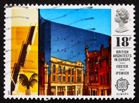 GREAT BRITAIN - CIRCA 1987: a stamp printed in the Great Britain shows Willis Faber and Dumas Building, Ipswich, designed by Norman Foster, circa 1987 Stock Photo - 11455648