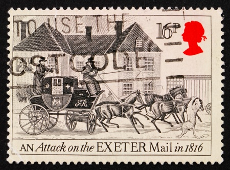 pollard: GREAT BRITAIN - CIRCA 1984: a stamp printed in the Great Britain shows An Attack on the Exeter Mail in 1816, Drawing by James Pollard, circa 1984 Stock Photo
