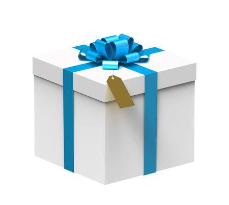 White gift box with blue ribbon isolated on white background photo