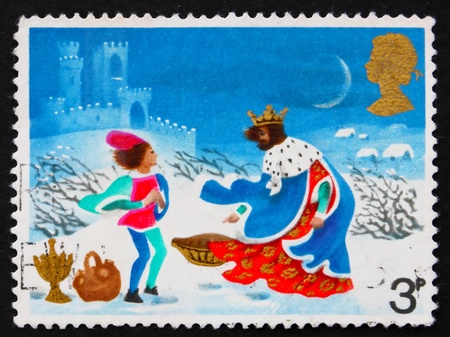 carol: GREAT BRITAIN - CIRCA 1973: a stamp printed in the Great Britain shows Page in storm, Illustration for Christmas carol Good king Wenceslas, circa 1973 Stock Photo