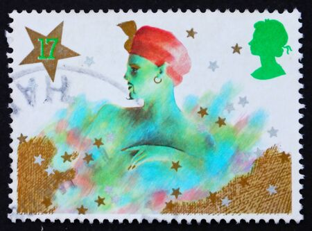 pantomime: GREAT BRITAIN - CIRCA 1985: a stamp printed in the Great Britain shows Genie, Christmas pantomime, circa 1985 Stock Photo