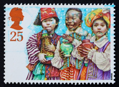 GREAT BRITAIN - CIRCA 1994: a stamp printed in the Great Britain shows Three Magi, School children portraying for Christmas, circa 1994 photo