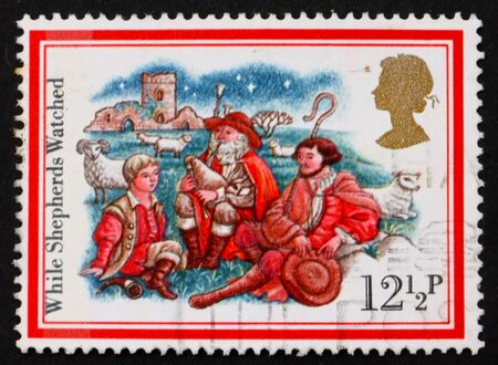 GREAT BRITAIN - CIRCA 1982: a stamp printed in the Great Britain shows Three shepherds, Illustration for Christmas carol, circa 1982 illustration