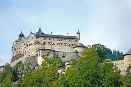 Hohenwerfen Castle, middeleeuws kasteel in Oostenrijk bij Salzburg