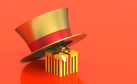 Gift box under golden hat, 3d render photo