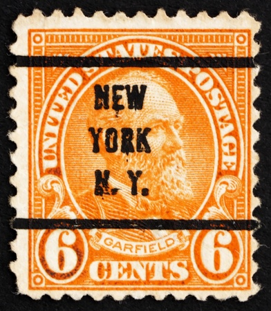 UNITED STATES OF AMERICA - CIRCA 1923: a stamp printed in the United States of America shows James A. Garfield, 20th President of USA 1881, circa 1923 photo