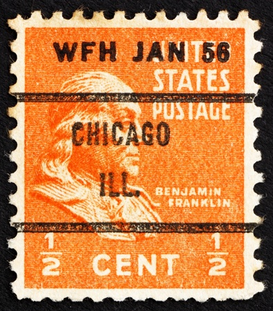 UNITED STATES OF AMERICA - CIRCA 1938: a stamp printed in the United States of America shows Benjamin Franklin, one of the Founding Fathers of the United States, circa 1938 photo