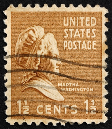 UNITED STATES OF AMERICA - CIRCA 1938: a stamp printed in the United States of America shows Martha Washington, wife of George Washington, circa 1938