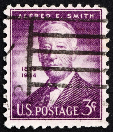 UNITED STATES OF AMERICA - CIRCA 1945: a stamp printed in the United States of America shows Alfred E. Smith, 42nd governor of New York 1923-1928, circa 1945 photo