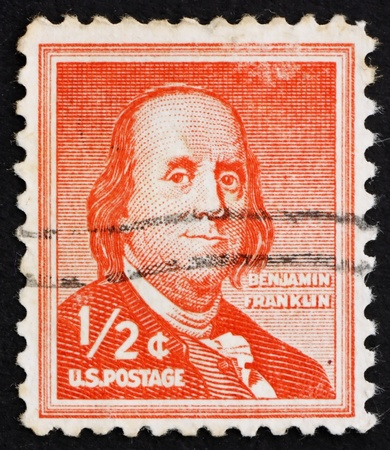 the franklin: UNITED STATES OF AMERICA - CIRCA 1954: a stamp printed in the United States of America shows Benjamin Franklin, one of the Founding Fathers of the United States, circa 1954 Editorial
