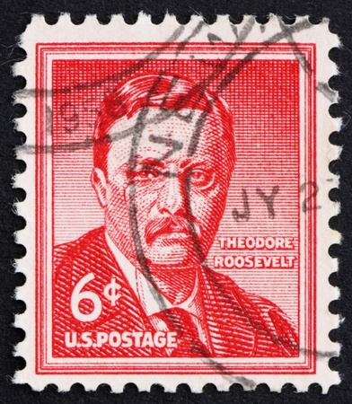 theodore roosevelt: UNITED STATES OF AMERICA - CIRCA 1954: a stamp printed in the United States of America shows Theodore Roosevelt, 26th President of USA 1901-1909, circa 1954 Stock Photo