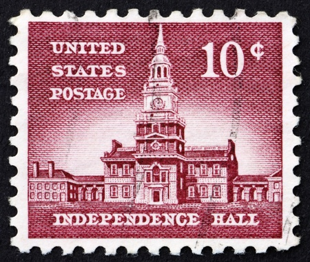 UNITED STATES OF AMERICA - CIRCA 1954: a stamp printed in the United States of America shows Independence Hall in Philadelphia, location where both the Declaration of Independence and the United States Constitution were adopted, circa 1954