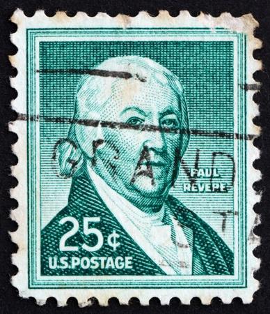 revere: UNITED STATES OF AMERICA - CIRCA 1954: a stamp printed in the United States of America shows Paul Revere, patriot in the American Revolution, circa 1954