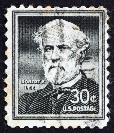 UNITED STATES OF AMERICA - CIRCA 1954: a stamp printed in the United States of America shows Robert E. Lee, commander of the Confederate Army of Northern Virginia in the American Civil War, circa 1954 photo