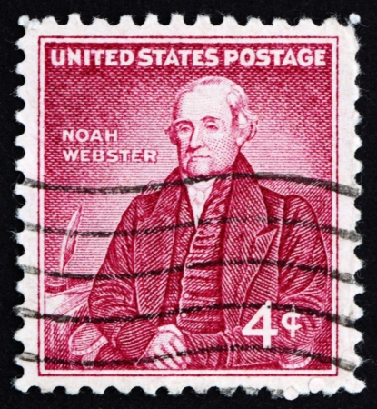 lexicographer: UNITED STATES OF AMERICA - CIRCA 1958: a stamp printed in the United States of America shows Noah Webster, American educator, circa 1958 Stock Photo