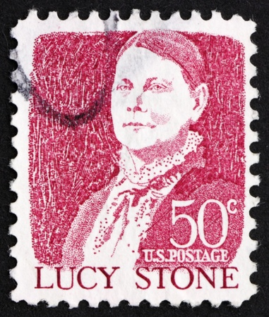 abolitionist: UNITED STATES OF AMERICA - CIRCA 1965: a stamp printed in the United States of America shows Lucy Stone, American abolitionist and suffragist, circa 1965