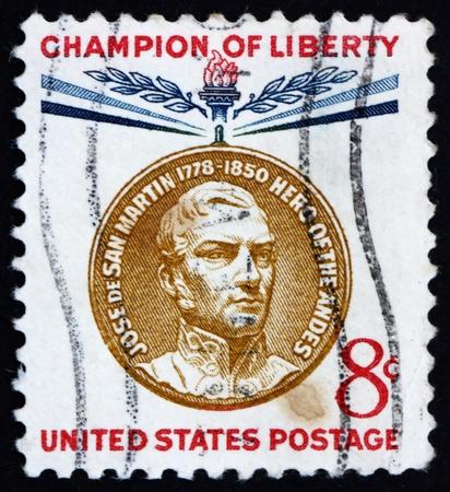 jose de san martin: UNITED STATES OF AMERICA - CIRCA 1959: a stamp printed in the United States of America shows Jose de San Martin, 1st President of Peru, circa 1959 Stock Photo