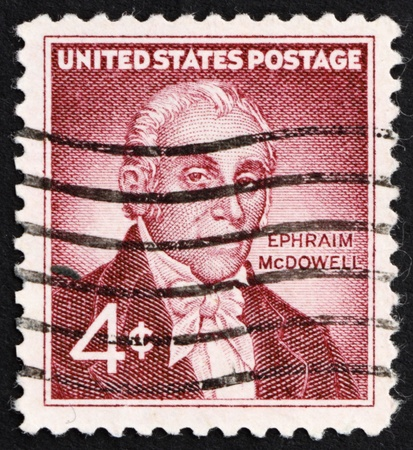 ovarian: UNITED STATES OF AMERICA - CIRCA 1959: a stamp printed in the United States of America shows Dr. Ephraim McDowell, 150th anniversary of the 1st successful ovarian operation in the USA, circa 1959