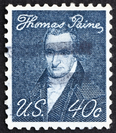 founding fathers: UNITED STATES OF AMERICA - CIRCA 1973: a stamp printed in the United States of America shows Thomas Paine, English author and one of the Founding Fathers of the United States, circa 1973