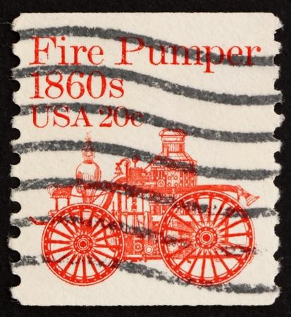 pumper: UNITED STATES OF AMERICA - CIRCA 1981: a stamp printed in the United States of America shows Fire pumper 1860s, fire truck, circa 1981 Stock Photo