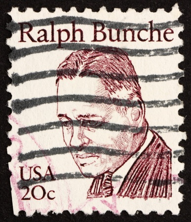diplomat: UNITED STATES OF AMERICA - CIRCA 1983: a stamp printed in the United States of America shows Ralph Bunche, American diplomat who received the 1950 Nobel Peace Prize, circa 1983 Stock Photo