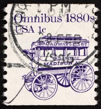 omnibus: UNITED STATES OF AMERICA - CIRCA 1983: a stamp printed in the United States of America shows Omnibus 1880s, horse-drawn wagon for passenger transport, circa 1983
