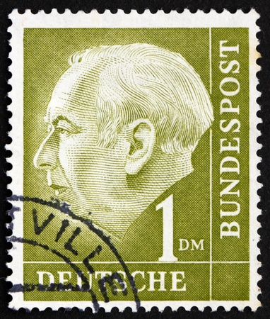 theodor: GERMANY - CIRCA 1954: a stamp printed in the Germany shows Theodor Heuss, 1st President of the Federal Republic of Germany, 1949-1959, circa 1954