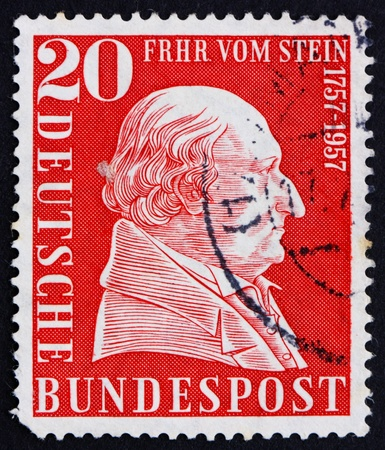 statesman: GERMANY - CIRCA 1957: a stamp printed in the Germany shows Baron vom Stein, Prussian statesman, circa 1957
