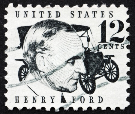innovator: UNITED STATES OF AMERICA - CIRCA 1968: a stamp printed in the United States of America shows Henry Ford and car Ford Model T from 1909, circa 1968 Stock Photo