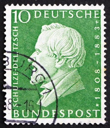 founder: GERMANY - CIRCA 1958: a stamp printed in the Germany shows Hermann Schulze-Delitzsch, founder of German trade organizations, circa 1958 Stock Photo
