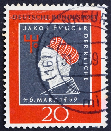 GERMANY - CIRCA 1959: a stamp printed in the Germany shows Jakob Fugger, 500th anniversary of the birth of Jakob Fugger the Rich, businessman and banker, circa 1959 photo