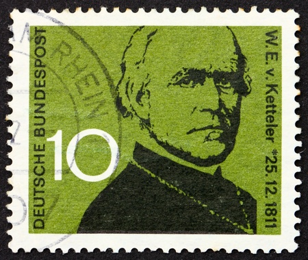GERMANY - CIRCA 1961: a stamp printed in the Germany shows Wilhelm Emanuel von Ketteler, Bishop of Mainz and pioneer in social development, circa 1961 photo