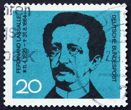 GERMANY - CIRCA 1964: a stamp printed in the Germany shows Ferdinand Lasalle, founder of the German Labor Movement, circa 1964 photo