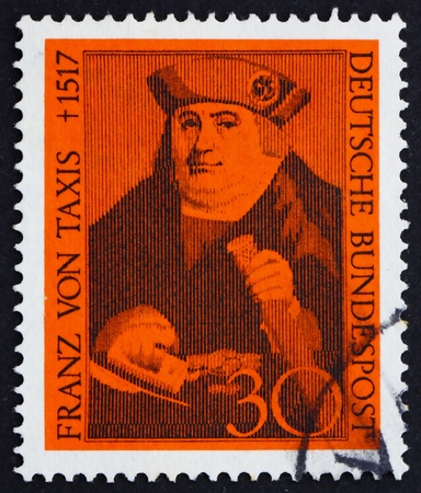 GERMANY - CIRCA 1967: a stamp printed in the Germany shows Franz von Taxis, founder of the Taxis postal system, circa 1967 photo