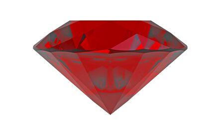 Red diamond ruby gemstone isolated on white photo