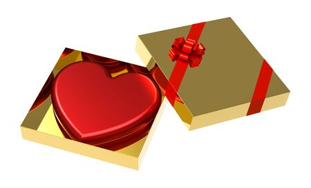 Red heart as a gift in golden box with red ribbon, isolated on white background, render photo