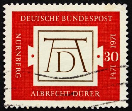 engraver: GERMANIA - CIRCA 1971: un francobollo stampato in Germania mostra Signature Durers, 500 � anniversario della nascita di Albrecht Durer, pittore e incisore, circa 1971 Archivio Fotografico