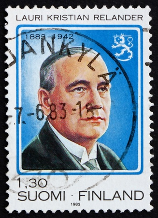 FINLAND - CIRCA 1983: a stamp printed in the Finland shows Lauri Kristian Relander, second President of the Republic of Finland, 1925-1931, circa 1983 Stock Photo - 11960410