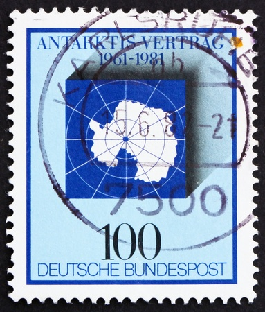 treaty: GERMANY - CIRCA 1981: a stamp printed in the Germany shows Map of Antarctic, 20th anniversary of Antarctic treaty, circa 1981 Stock Photo