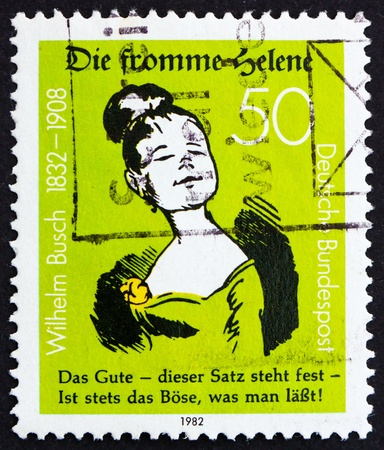 postal office: GERMANY - CIRCA 1982: a stamp printed in the Germany shows Die Fromme Helene, by Wilhelm Busch, humorist, circa 1982