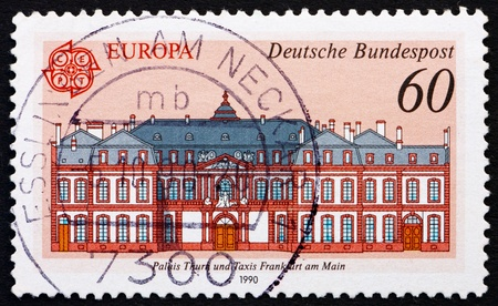 GERMANY - CIRCA 1990: a stamp printed in the Germany shows Thurn and Taxis Palace, Frankfurt am Main, circa 1990 photo