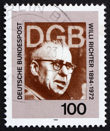 richter: GERMANY - CIRCA 1994: a stamp printed in the Germany shows Willi Richter, Politician and Labor Leader, circa 1994